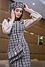 Платье-сарафан с открытыми плечами /черный в бело-кофейную клетку, S-XL, SEV-1111.3963/, фото 2