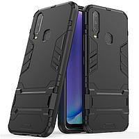 Чехол Hybrid case для Vivo Y15 бампер с подставкой черный