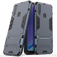 Чехол Hybrid case для Vivo Y15 бампер с подставкой темно-синий
