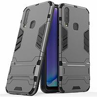 Чехол Hybrid case для Vivo Y15 бампер с подставкой темно-серый