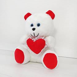 Мягкая игрушка Kronos Toys Медвежонок с сердцем 31 см плюшевый Белый (zol_111)