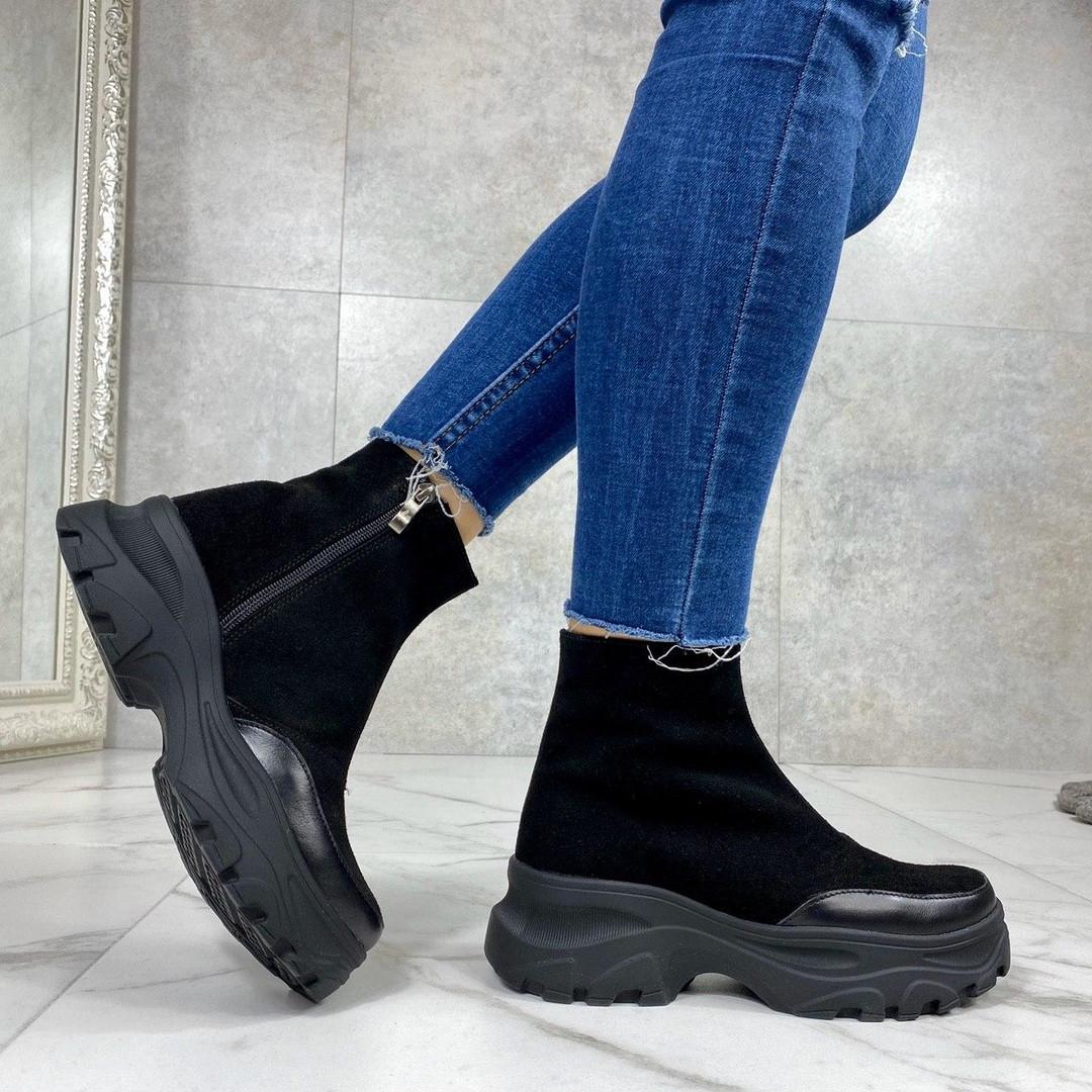 Женские ботинки ДЕМИ черные натуральная замша