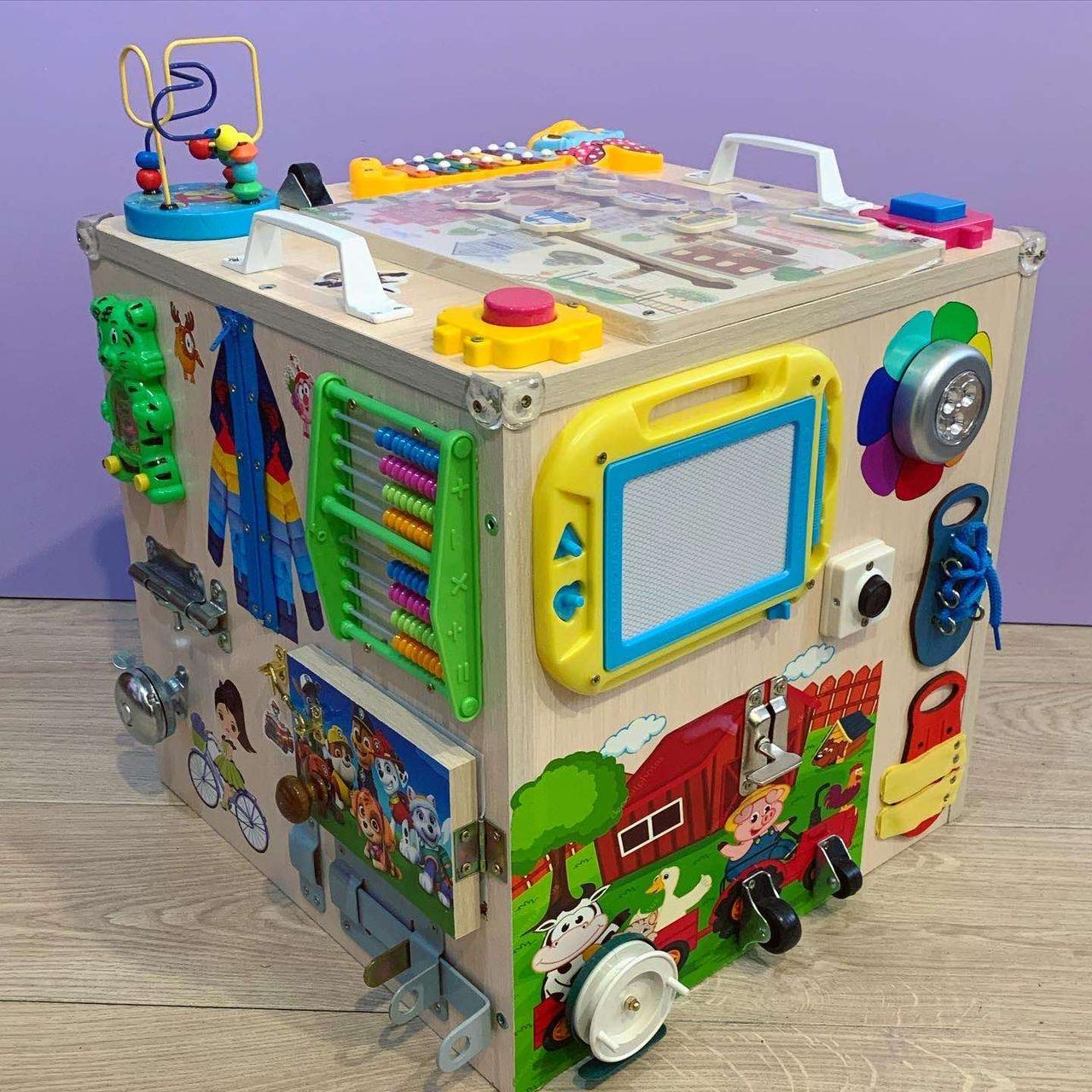 "Развивающий куб для ребенка ""Бизикуб"" бизи куб бизиборд  40*40*40 см"