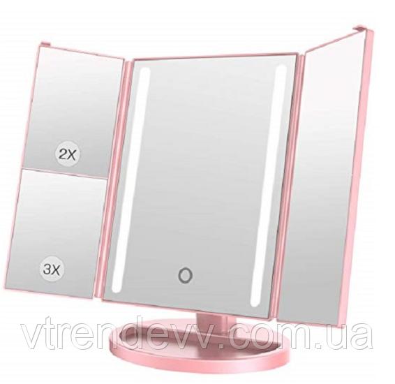 Зеркало с подсветкой 22 LED Superstars MAGNIFYING MIRROR розовое