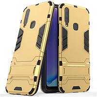 Чехол Hybrid case для Vivo Y15 бампер с подставкой золотой