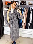 Женское качественное фабричное демисезонное шерстяное пальто с поясом (в расцветках), фото 8