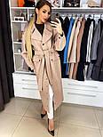 Женское качественное фабричное демисезонное шерстяное пальто с поясом (в расцветках), фото 6
