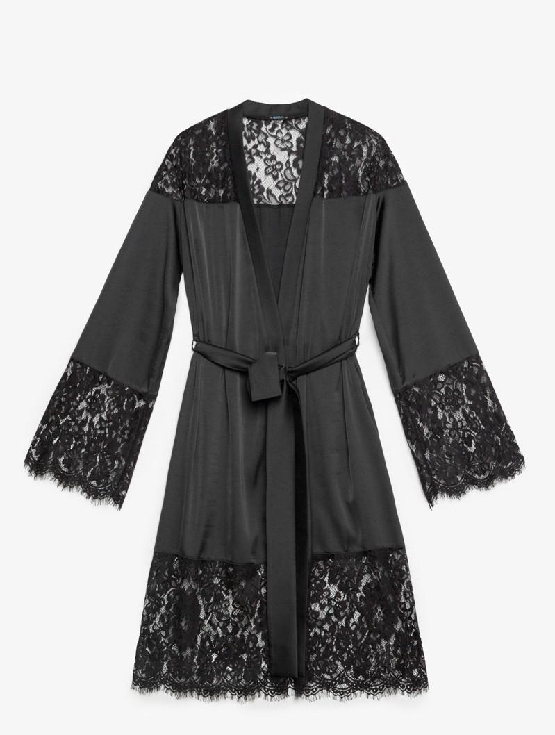 Нежный черный женский халат с кружевом XS S M L XL