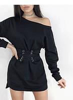 Женское утепленное платье  на флисе + пояс-корсет ( зима) 3 цвета 42-44 и 46-486