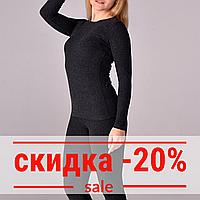 Женский термо-джемпер с шерстью,  цвет темно-серый, фото 1