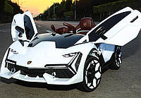 Детский электромобиль Ламборджини Lamborghini M 4115EBLR-1 белый (красный, синий). Колеса EVA, MP3, USB, кожа.