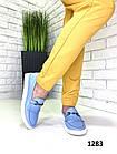 Женские лоферы голубого цвета из турецкой кожи 40 ПОСЛЕДНИЙ РАЗМЕР, фото 2