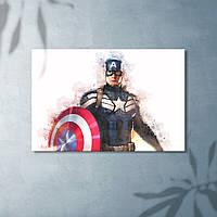 Капитан Америка Фото печать Картина на холсте Акварельная техника Мстители Супер герой Декор в комнату