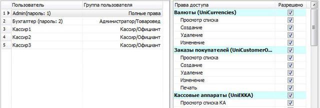 Система паролей и права уровня доступа пользователей к объектам программы
