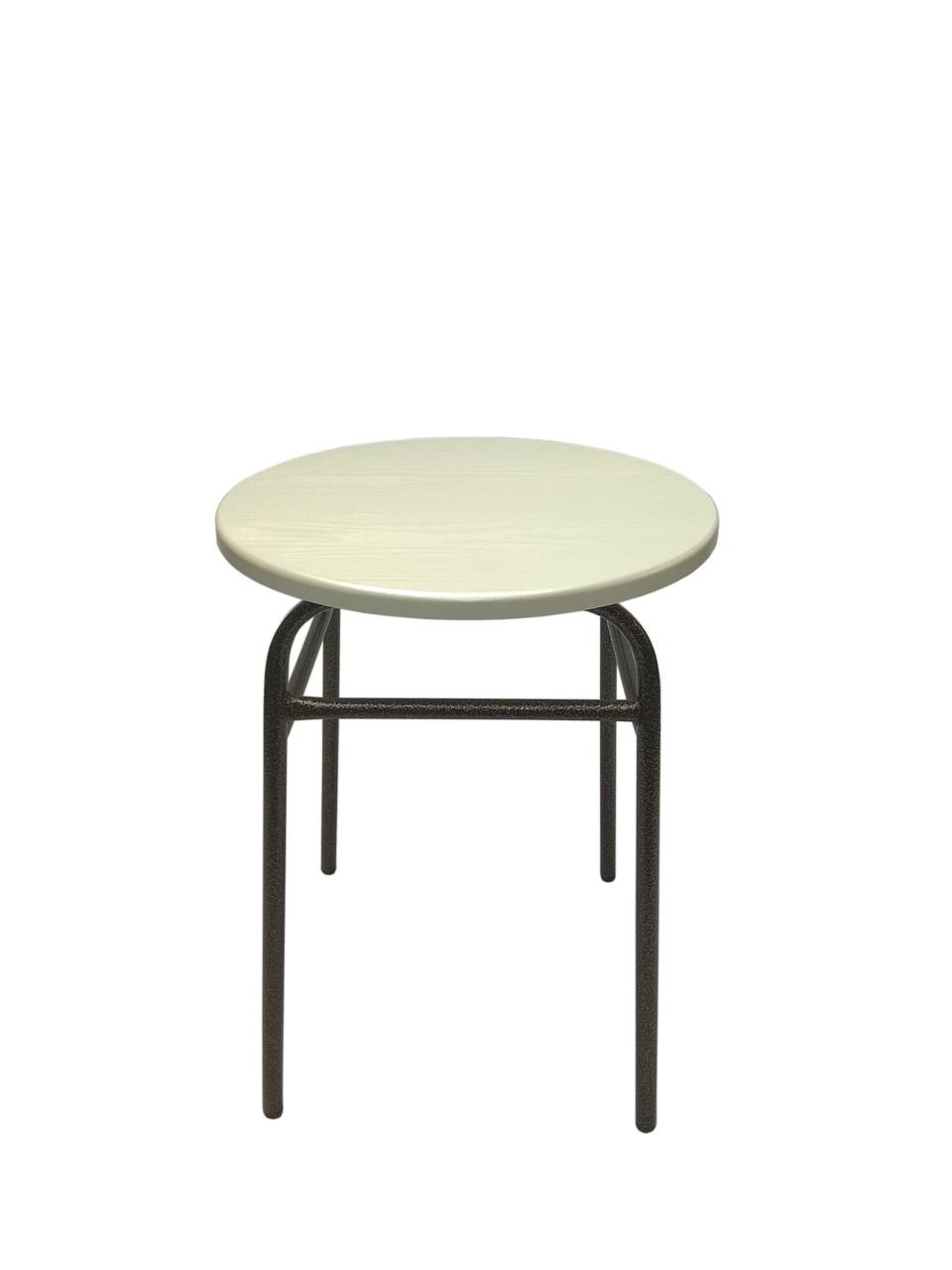 Табурет кухонный металлический круглая сидушка белый цвет
