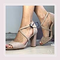 Женские босоножки на среднем устойчивом каблуке, беж экозамша, фото 1