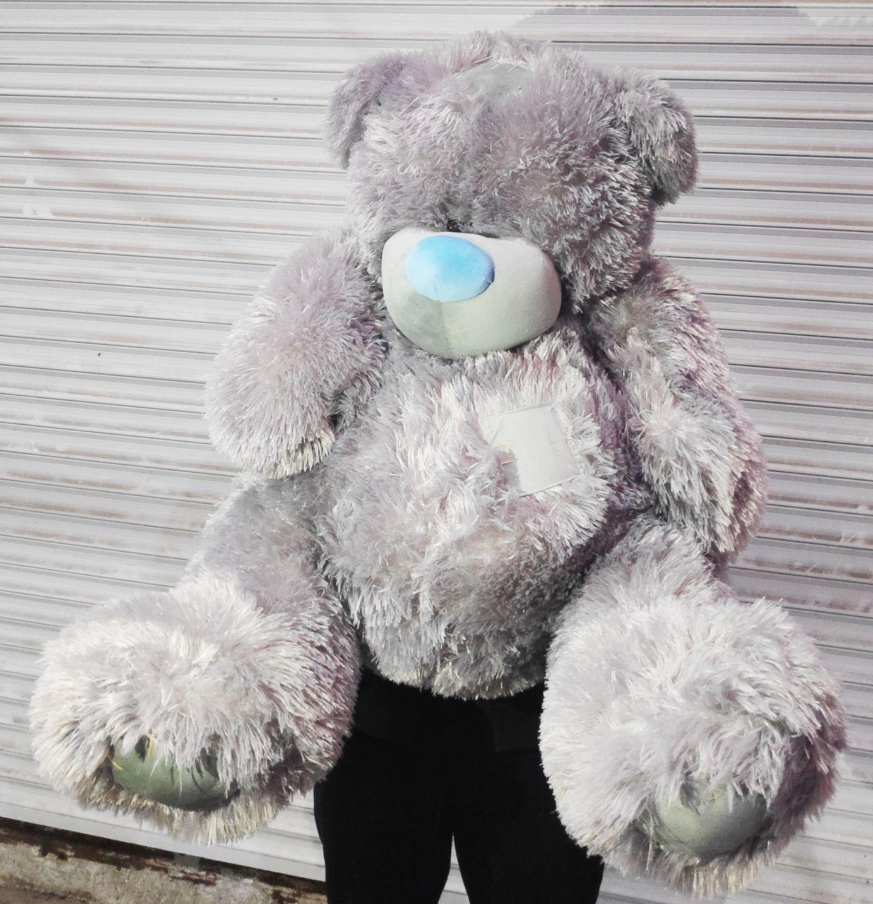 Огромный серый плюшевый медведь мягкая игрушка большой мишка Тедди 1 метра