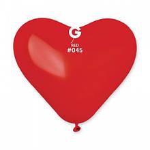 """Латексна кулька серце пастель червоний 10""""/ 45/ 25 см Red GEMAR"""