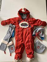 Зимний красный теплый комбинезон, шапка, манишка,шарф deux par deux 12