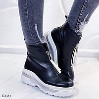 Женские ботинки черные эко-кожа демисезонные спереди молния, фото 1