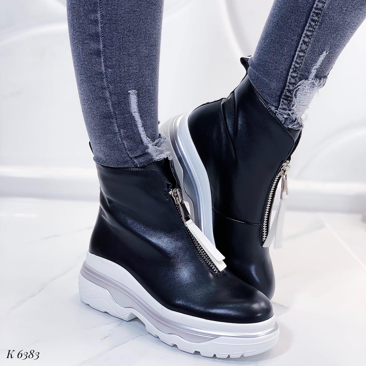 Женские ботинки черные эко-кожа демисезонные спереди молния
