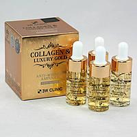 3W Clinic Collagen & Luxury Gold Anti-Wrinkle Ampoule Сыворотка с золотом и коллагеном 13 мл
