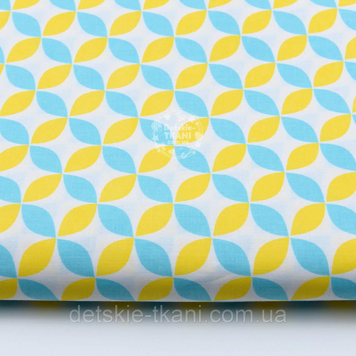 Отрез ткани с сеткой из лепестков жёлто-бирюзового цвета (№385а), размер 60*160
