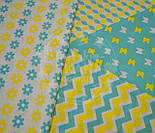 Отрез ткани с сеткой из лепестков жёлто-бирюзового цвета (№385а), размер 60*160, фото 5
