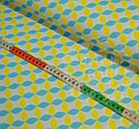 Отрез ткани с сеткой из лепестков жёлто-бирюзового цвета (№385а), размер 60*160, фото 6
