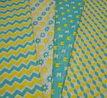 Отрез ткани с сеткой из лепестков жёлто-бирюзового цвета (№385а), размер 60*160, фото 7