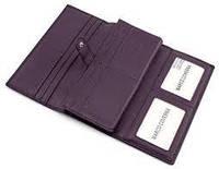 Вместительный кожаный кошелек из красивой фиолетовой кожи на магните Marco Coverna
