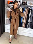 Жіноче якісне фабричне вовняне пальто демісезонне міді зі спущеними плечима (в кольорах), фото 9