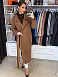 Жіноче якісне фабричне вовняне пальто демісезонне міді зі спущеними плечима (в кольорах), фото 8