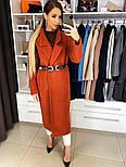Жіноче якісне фабричне вовняне пальто демісезонне міді зі спущеними плечима (в кольорах), фото 5