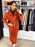 Жіноче якісне фабричне вовняне пальто демісезонне міді зі спущеними плечима (в кольорах), фото 4