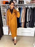 Жіноче якісне фабричне вовняне пальто демісезонне міді зі спущеними плечима (в кольорах), фото 3