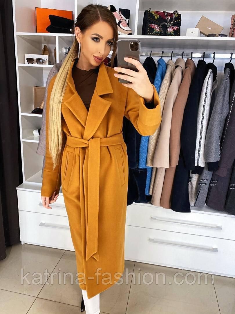 Жіноче якісне фабричне вовняне пальто демісезонне міді зі спущеними плечима (в кольорах)