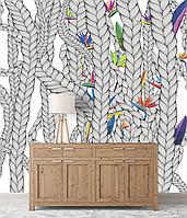 Обои плетение цветы дизайнерские в лоджию, холл, коридор Weave & Flowers 155 см х 250 см