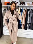 Жіноче якісне фабричне вовняне пальто демісезонне міді зі спущеними плечима (в кольорах), фото 2
