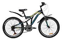 """Велосипед ST 24"""" Discovery ROCKET AM2 Vbr с крылом Pl 2020 (черно-желтый с бирюзовым (м))"""