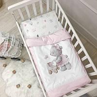 Комплект сменного постельного белья в кроватку Kids Toys Мишка розовый