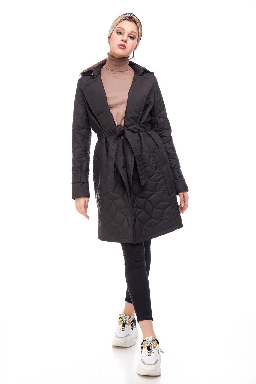 Стильное стеганое пальто весна осень чёрного цвета, размер 42-50