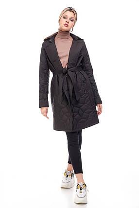 Стильное стеганое пальто весна осень чёрного цвета, размер 42-50, фото 2