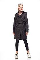 Стильное стеганое пальто весна осень чёрного цвета, размер 42-50, фото 3