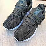 Мужские Кросcовки Adidas Alphabounce Instinct зелёные хаки, фото 3