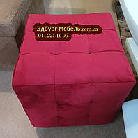 Пуф стеганный Квадро оббивка велюр, бархат, фото 1