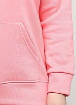 Батал худи женский тёплый 01, цвет розовый, фото 2