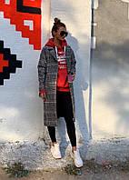 Женское шерстяное стильное пальто в клетку на подкладке + подарок