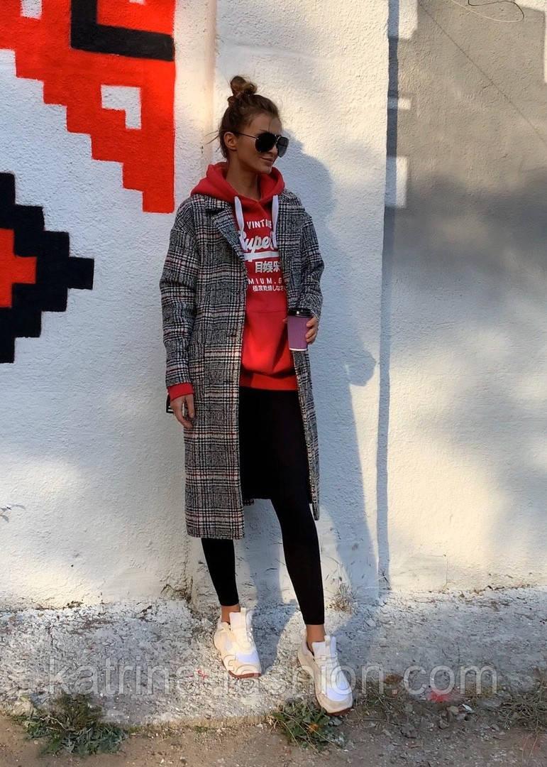Женское шерстяное стильное пальто в клетку на подкладке