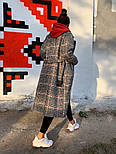 Женское шерстяное стильное пальто в клетку на подкладке, фото 5